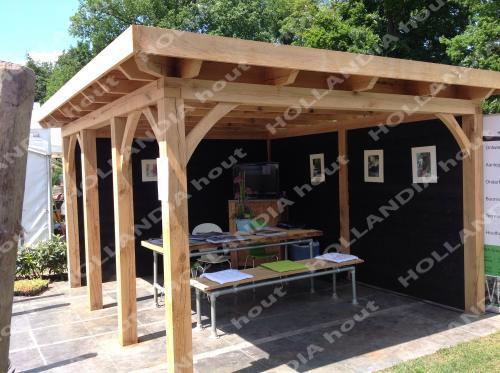 Maatwerk overkappingen - Eiken overkapping plat dak 350x400 cm ...